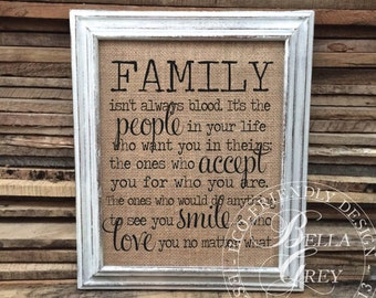Family Isn't Always Blood Sign | Friendship Gift | Birthday Gifts for Best Friend, Step Mom, Step Dad, Step Parent