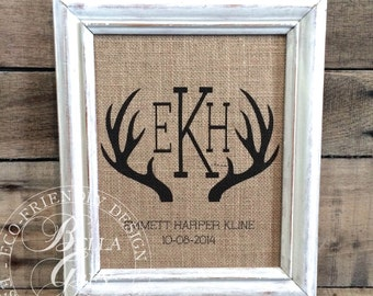 Rustic Antler Monogram Sign - Burlap or Cotton Art Print -  Nursery Decor Baby Shower Newborn Gift - Baby Room Rustic Nursery Woodland Theme