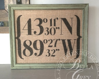 Housewarming New Home Gift, Rustic Burlap, Coordinates Address Sign, Wedding Coordinates Sign, Our First Home,  Gift for Wife, Real Estate