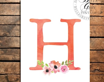 Woodland Flower Nursery Monogram Initial Art Print Sign - Watercolor Art Print - Nursery Decor - Baby Shower - Letter Personalized Baby Gift