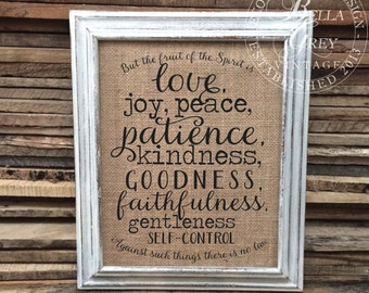 Fruit of the Spirit Sign - Love Joy Peace Patience Kindness Faithfulness - Gift for Friend - Galatians 5 22-23 Christian Scripture Verse
