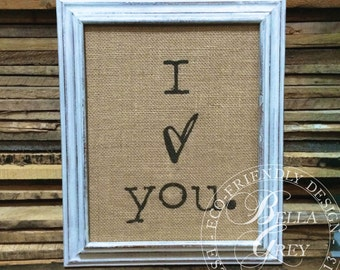 I Love You Sign - Burlap Art Print - Natural Cotton Art Print - Wedding Gift - Anniversary Gift - Valentine's Day Gift - Engagement Gift