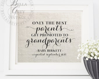 Only the Best Parents Get Promoted to Grandparents Art Print | Pregnancy Reveal Announcement | New Grandparents-to-be | Gift for Mom or Dad
