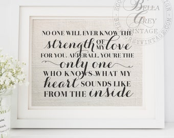 Strength of My Love for You You're the Only One Who Know What My Heart Sounds Like From Inside - Gift for Baby - Nursery Decor