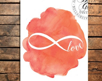 Infinite Love - Watercolor Art Print - Wedding Gift - Anniversary Gift - Infinity Sign - Valentine's Day - Nursery Decor