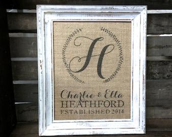 Last Name & Monogram Wreath Sign Burlap or Cotton Art Print - Personalized Wedding Anniversary - Housewarming - Bridal Shower - Hostess Gift