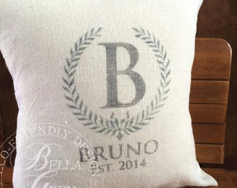 Burlap Monogram Pillow Cover - Bridal Shower Gift - Wedding - Anniversary - Customized & Personalized - Last Name and Est. Date