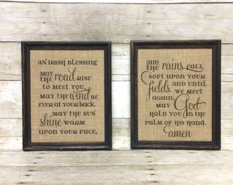 Irish Blessing Burlap Sign Art Prints - Cotton Print - Vintage Farmhouse Shabby Cottage Chic Wedding Gift - Anniversary Housewarming Gift