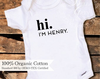 Baby's Coming Home from Hospital Outfit - Organic Cotton Onesie - Hi Personalized Name Unisex Outfit - First Name - Customized