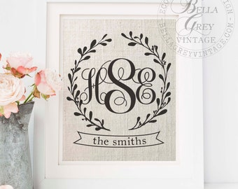 Personalized Three Initial Wreath Monogram Sign | Initials and Last Name | Wedding Anniversary Gift | Engagement Gift | Housewarming Print