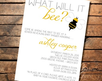 Gender Reveal Baby Shower Invitation - What Will It Be? - Bee Themed - Digital File Download
