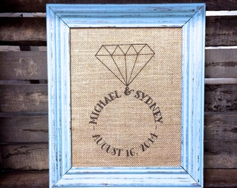 Personalized Names Engagement Ring Sign - Burlap or Cotton Art Print - Personalized Engagement - Wedding - Bridal Shower - Anniversary Gift