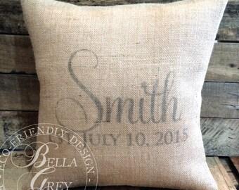 Vintage Burlap Last Name Pillow Cover - Established Date - Wedding Gift - Anniversary Gift - Housewarming Gift - Bridal Shower Gift