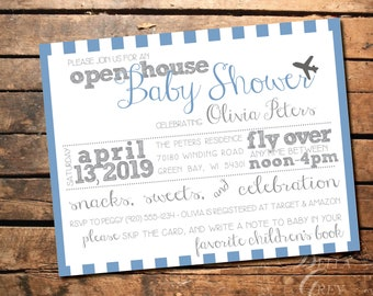 Airplane Aviation Travel Themed Baby Shower Invitation - Open House Shower Fly Over -  Digital File Download - Baby Boy or Girl - Air Force