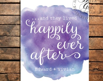 And They Lived Happily Ever After - Watercolor Art Print - Wedding Gift - Anniversary Gift - Valentine's Day - Personalized Couple's Names