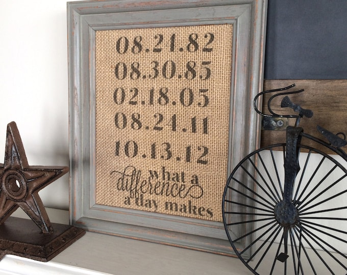 Featured listing image: Anniversary Gift, Burlap Print, Gift for Wife, What a Difference a Day Makes Sign, Couple Gift for Parents Anniversary, Children's Birthdays