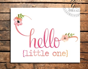 Hello Little One Sign - Watercolor Art Print - Nursery Decor - Baby Shower - Kids - New Baby Gift