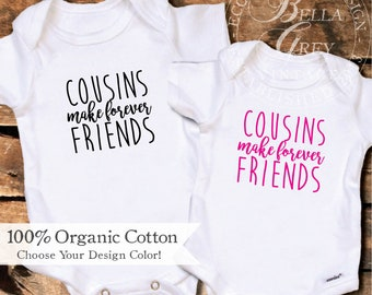 Cousins Onesie | Cousins Make Forever Friends | Pregnancy Reveal for Sister | Aunt to be | Onesies for Niece or Nephew Baby Announcement