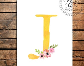 Woodland Flower Nursery Monogram Initial Art Print - Watercolor Art Print - Nursery Decor - Baby Shower - Letter J - Personalized Baby Gift