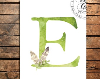 Woodland Nursery Monogram Initial Art Print - Watercolor Art Print - Feather Nursery Decor - Baby Shower - Letter E - Personalized Baby Gift