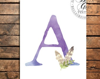 Woodland Nursery Monogram Initial Art Print - Watercolor Art Print - Nursery Decor - Baby Shower - Letter A - Personalized Baby Gift