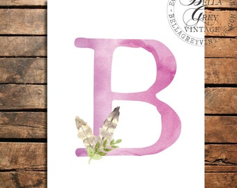 Woodland Nursery Monogram Initial Art Print Sign - Watercolor Art Print - Feather Nursery Decor - Baby Shower Letter Personalized Baby Gift