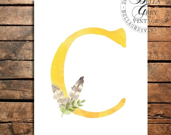 Woodland Nursery Monogram Initial Art Print - Watercolor Art Print - Nursery Decor - Baby Shower - Letter C - Personalized Baby Gift