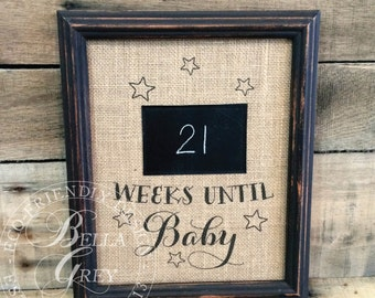 Countdown Weeks Until Baby - Pregnancy Announcement Reveal - Mommy to Be - Daddy to Be - Chalkboard Print Sign - Weeks of Pregnancy