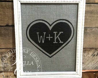 Heart Initials Burlap Print Sign - Wedding Gift - Anniversary Gift - Bridal Shower Gift - Burlap Sign - Natural Cotton Fabric Art Print