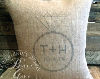 Engagement Ring Monogram Burlap Pillow Cover - Personalized Engagement Gift - Shabby Chic Decor - Wedding Gift