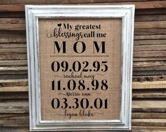 Christmas Gift for Mom - My Greatest Blessings Call Me Mom - Mother of the Bride Groom Gift - Mom from Daughter - Unique personalized Gift