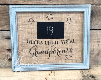 Weeks Until We're Grandparents Chalkboard Countdown - Pregnancy Announcement for Parents