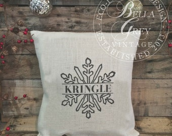 Personalized Christmas Snowflake Burlap or Natural Cotton Pillow Cover - Christmas Decor - Shabby Chic Christmas - Eco-Friendly Decor