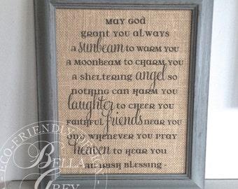 Irish Blessing Prayer - Celtic Blessing - Christian Burlap Sign Cotton Art Print - Christening Gift Baptism - Baby Shower Gift Nursery Decor