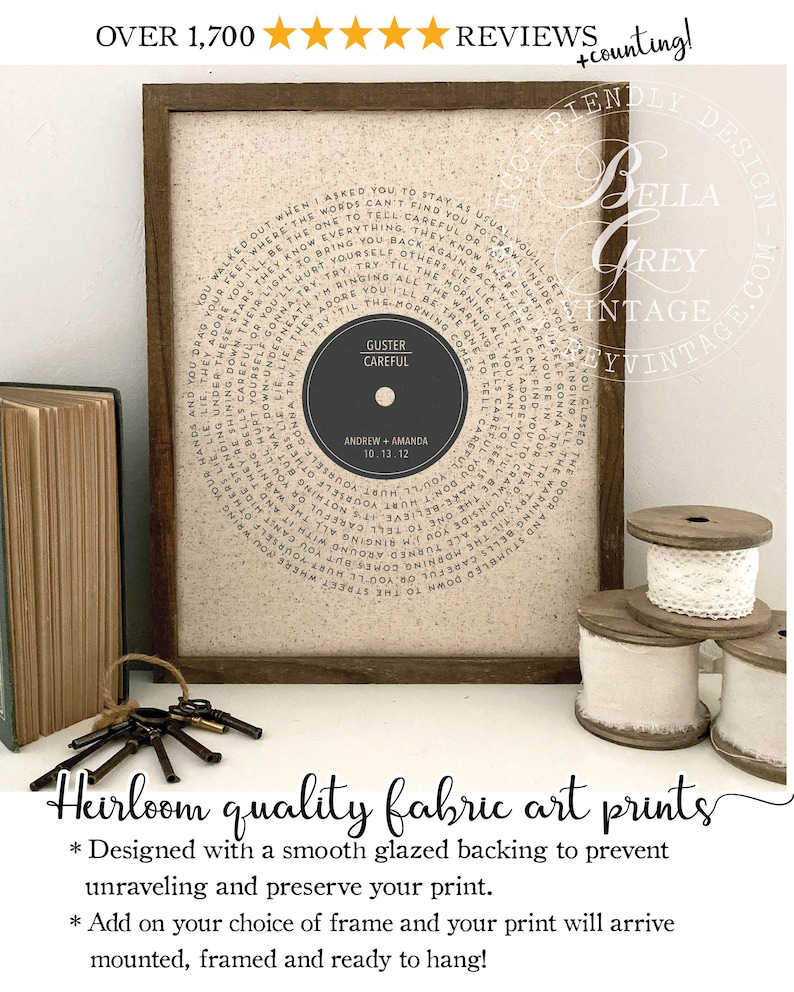 Vinyl Record Song Lyrics  2nd Cotton 4th and 12th Linen 5th Natural Cotton