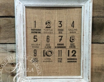 Twelve Days of Christmas Sign - Ships Next Day - Burlap Print - Christmas Holiday Gift - Secret Santa Gift - Partridge in a Pear Tree