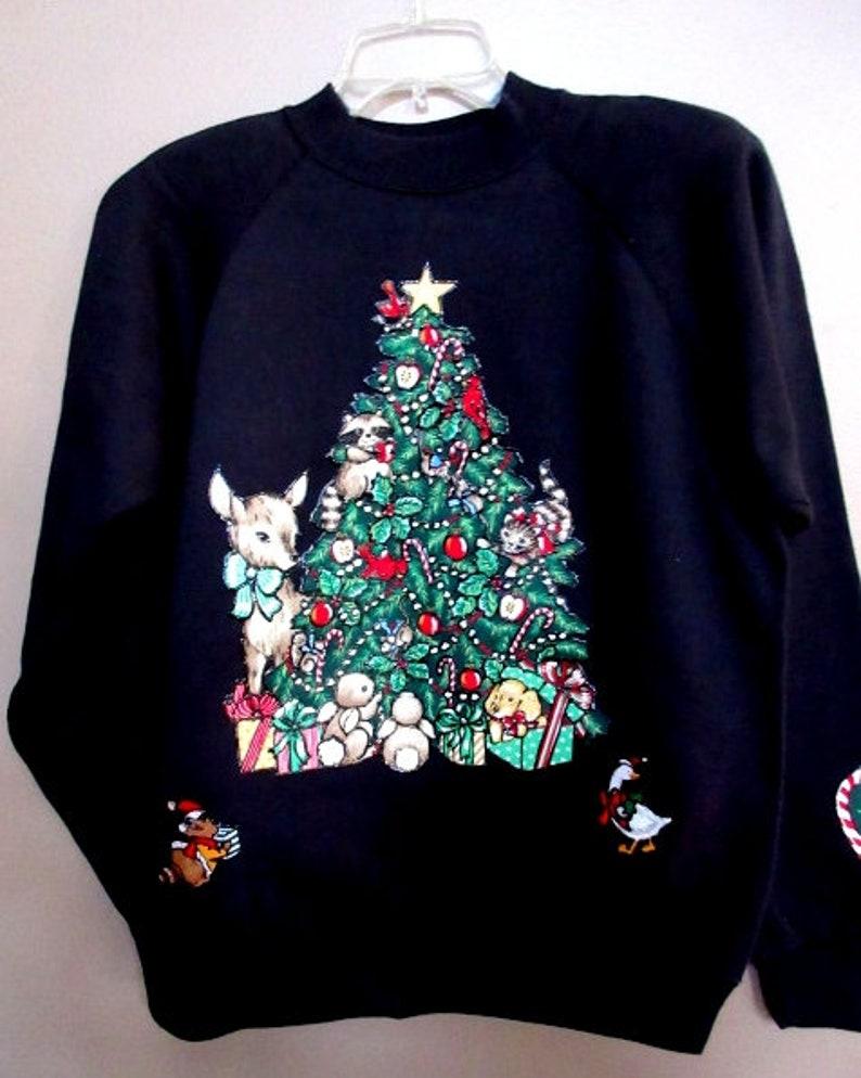 Vintage 1990/'s NEW never worn Ugly Sweaters Black Sweatshirt  Christmas Tree with Deer  Size Lg.