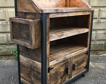 Rustic Industrial Reclaimed Wood Hostess Host Stand Weathered Walnut (Deluxe Version)