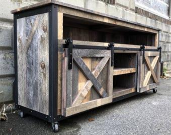 Rustic Industrial Barn Board Media Stand W Sliding Doors Etsy