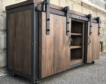 Rustic Industrial Barn Board Media Stand W Sliding Doors 55 Rustic Industrial Tv Stand I69