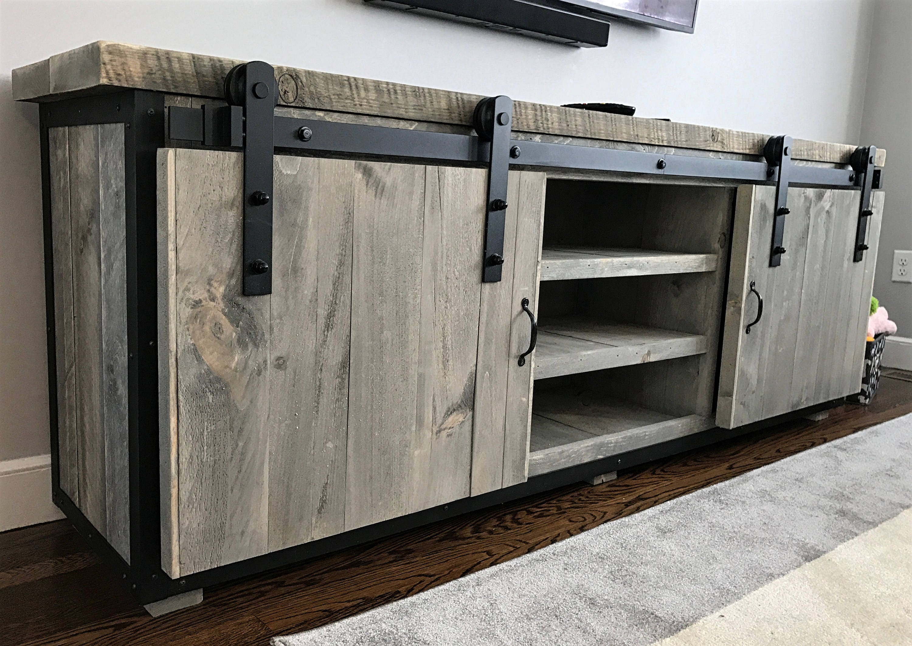 Rustic Industrial Barn Board Media Stand W Sliding Doors Etsy