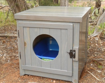 Rustic Cedar Kitty Litter Cabinet Front Entry - Standard Classic Gray