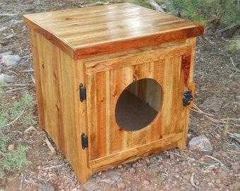 Rustic Cedar Kitty Litter Cabinet Front Entry - Standard Golden Oak