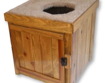 Rustic Cedar Kitty Litter Cabinet Top Entry - Standard Golden Oak