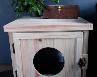 Rustic Cedar Kitty Litter Cabinet Front Entry - Standard Unfinished