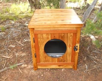Jumbo Cedar Kitty Litter Cabinet - Front Entry Golden Oak