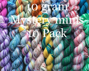 Hand Dyed Yarn 10 gram Mini skeins, Mystery Mini 10 Pack Set, 46 yard minis, SW Sock weight, Fingering weight, 100 grams total Ready To Ship