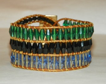 Leather Beaded Wrap Cuff Bracelet with Green, Blue and Black Crystals and Gold Leather