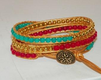 "Beaded Gold Leather Wrap Bracelet - ""Southwesten"""