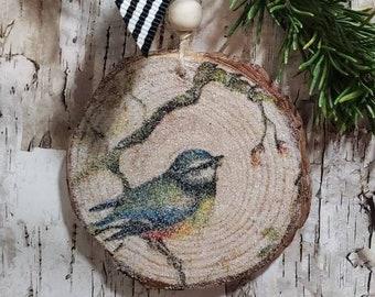 Bird Wood Slice Ornament, Bird Decoration, Farmhouse Decor, Woodland Nursery Decor, Decoupage Christmas Tree Bauble, Wooden Hanging Art